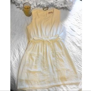 Glamour Farms White V-Neck Cinched Day Dress Large